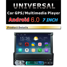 "Android 6.0 автомобилей Радио стерео 1 din Wi-Fi Bluetooth 7 ""Сенсорный экран 1Din 1024*600 gps-навигации MP4 MP5 dvd автомобиля аудиоплеер"