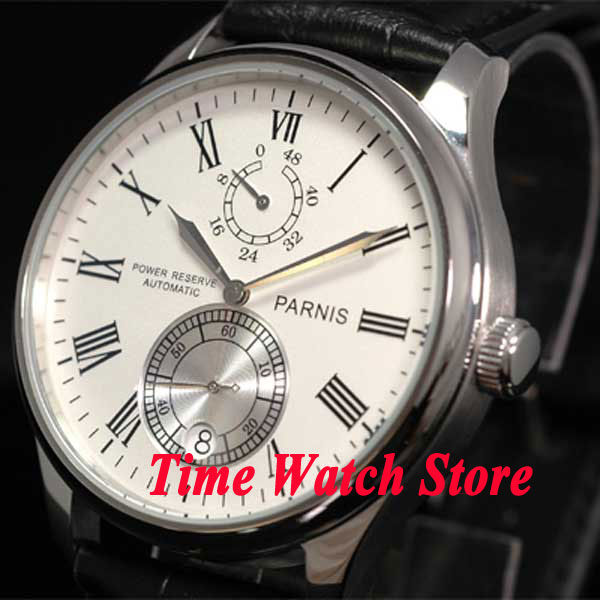 Parnis 43mm white dial silver hands Roman Numerals Power reserve black Leather Strap Automatic movement Men's watch 199 roman numerals dial artificial leather watch