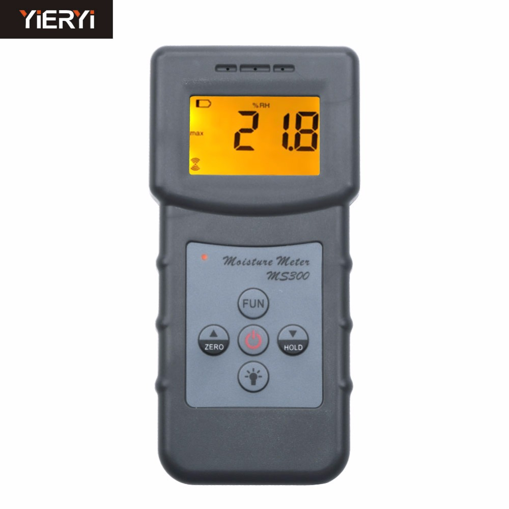 yieryi 100% New Brand MS300 Digital Moisture Meter Concrete Wall Moisture Analyzer Tool mc 7806 digital moisture analyzer price with pin type cotton paper building tobacco moisture meter