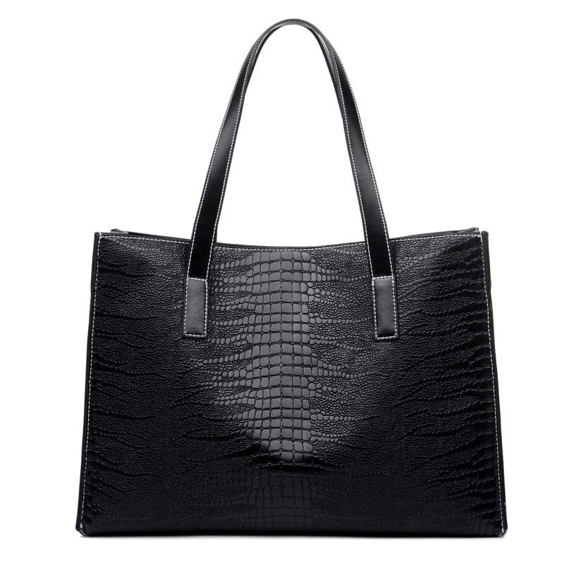 ФОТО Fashion crocodile grain handbags PU leather womens medium big tote bags female stylish atmosphere shoulder bags lady style bags
