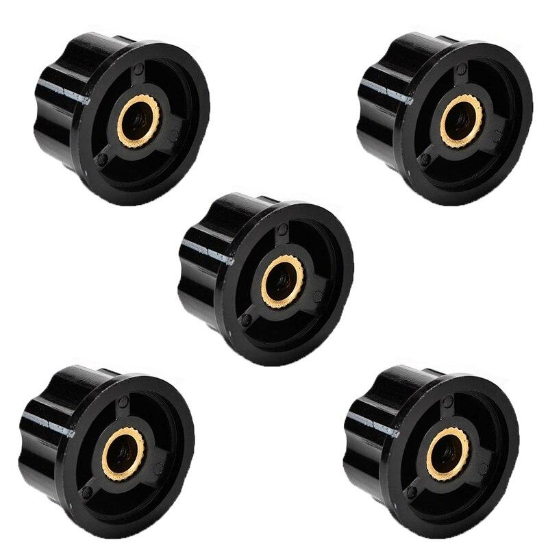 New 5PCS Adjustable 6mm Knurled Shaft Potentiometer Volume Control Rotary Knob S08 Drop ship gold abalone metal bell guitar bass knob for 6mm split shaft 3pcs
