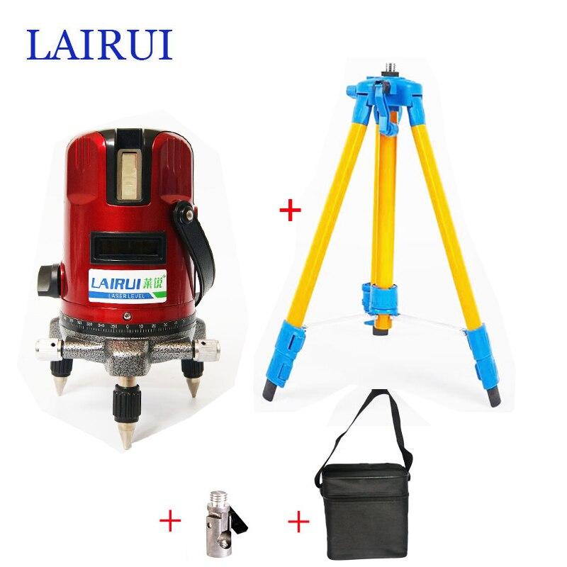 Lairui бренд 5 линий 6 очков лазерный уровень 360 градусов Поворотный Крест лазерной линии уровня 635nm с открытый режим штатива доступны