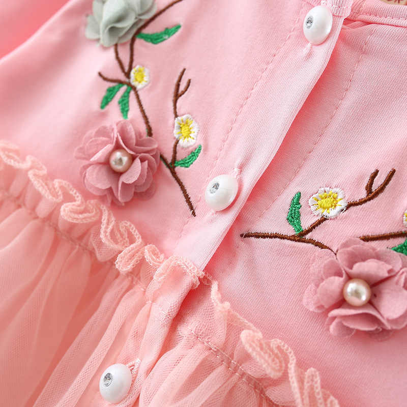 Новинка; детское платье; осенний кардиган для девочек, принт с героями мультфильмов, детский хлопковый комплект с длинными рукавами иностранных принцессы От 1 до 3 лет в сеточку с рюшами Вечерние милое платье подарок