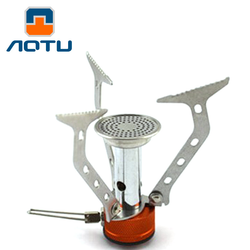 Aotu outdoor cooking stove portable camping cooker mini stove burner Gas grills lightweight furnace mobile kitchen appliances