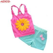 Children Summer Clothing Baby Girls Sling Sunflower Clothing Sets Kids Flower Vest Bow Short Pant Set