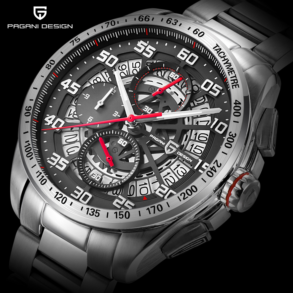 PAGANI DESIGN Watch Men Fashion Sport Chronograph Quartz Clock Mens Top Brand Luxury Full Steel Business Waterproof saat