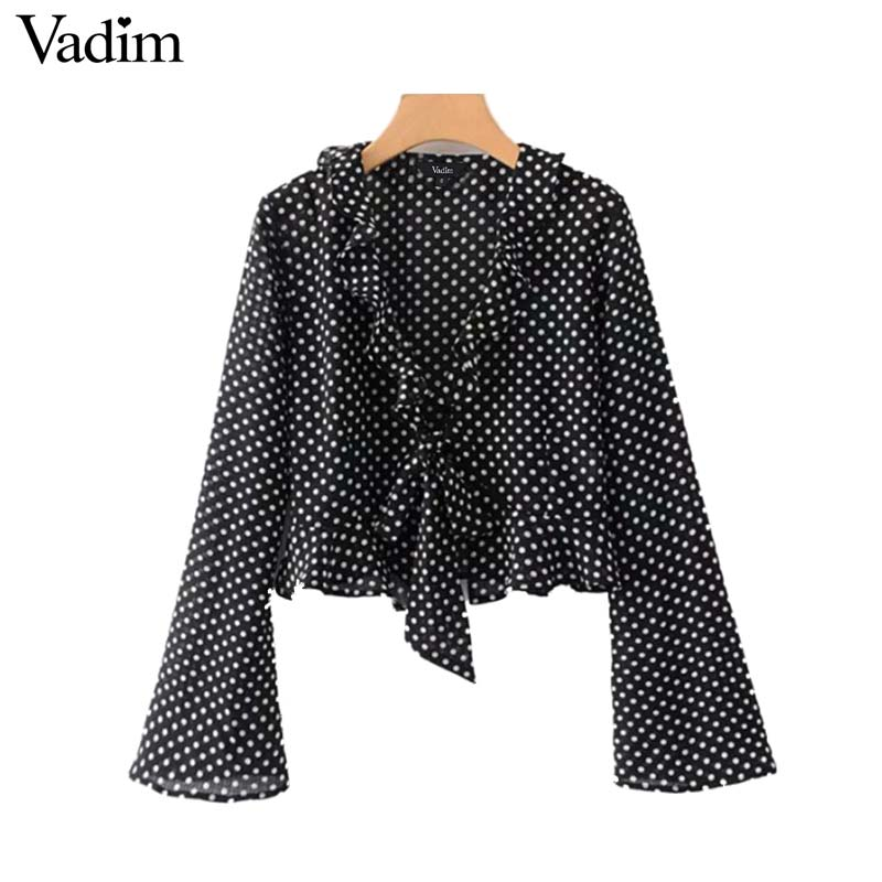 Vadim women polka dot ruffled crop top V neck bow tie flare sleeve short blouse see through retro female tops blusas LA846