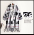 Chic 9 European American Vintage England Woolen Pashmina Ladies Fashion Stripe Wool Scarf Women Poncho Scarves Cape Winter Wraps
