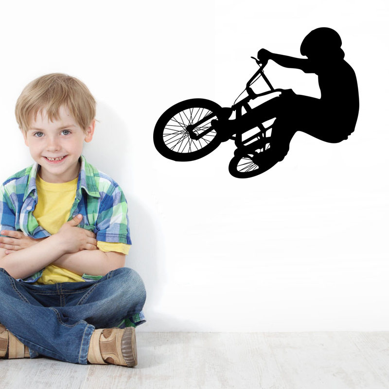 extreme bicycle exercise vinyl wall stickers for kids room diy home decoration wall art removeablel decals black