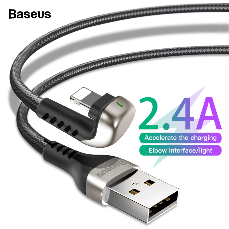 Baseus USB Cable For iPhone Xs Max Xr X 2.4A U-Shaped LED Light Fast Charging Charger Cable For iPhone 8 7 6 5 iPad Data Cable