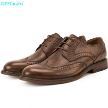 QYFCIOUFU New Arrival Shoes Mens Business Genuine Leather British Style Men Dress Wedding Breathable Brogue