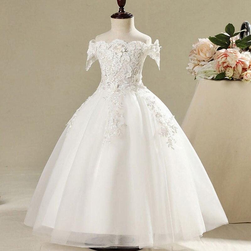 Длинное платье с цветочным узором для девочек, украшенное бусинами; Новинка года; праздничное платье для девочек на свадьбу; Красивое бальное сексуальное платье с открытыми плечами - Цвет: white