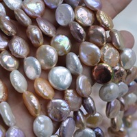 Wholesale Natural Pearl Beads 12 13mm White Purple Pink Mix Freshwater Coin shape Pearls Beads Round