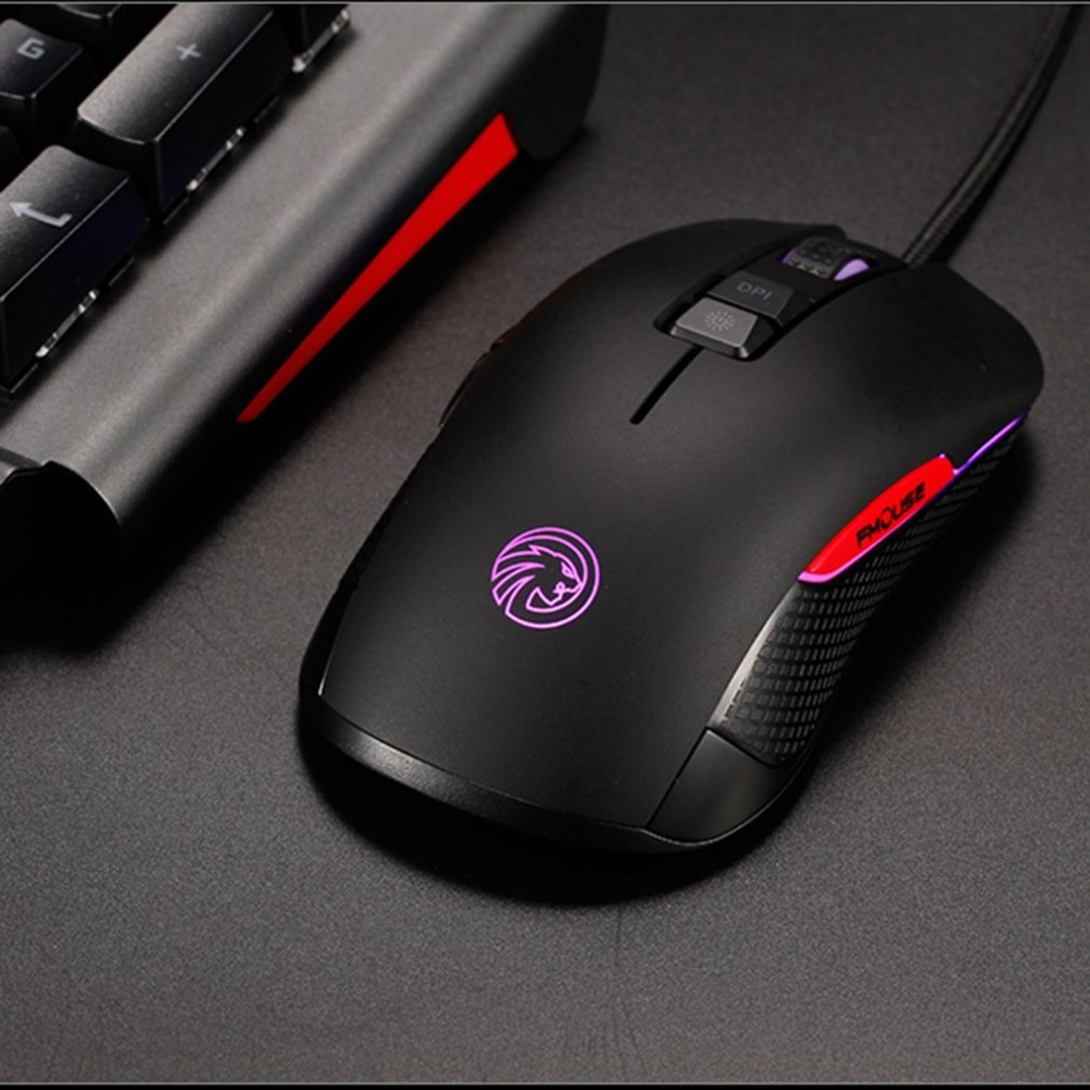 Universal USB Wired Gaming Mouse with RGB LED Light 4000DPI 7-Keys User Defined Marco Programming Mouse Plug & Play Colorful