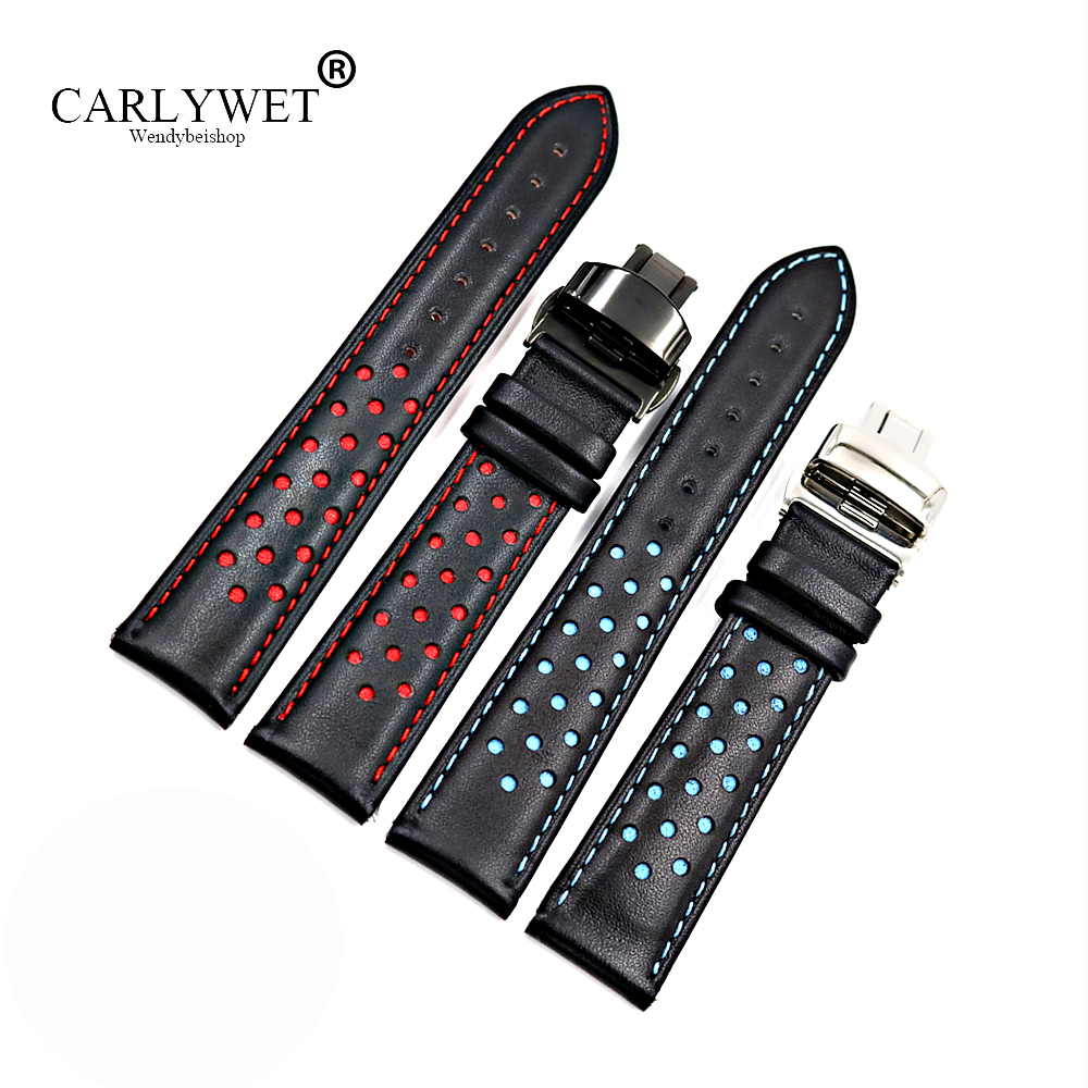 20mm 22mm Real Cowhide Leather Handmade Black Red Blue Replacement Wrist Watch Band Strap Double Push Clasp For Tag CARRERA