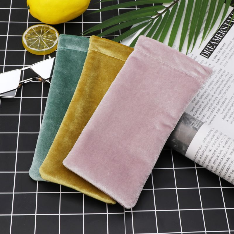 Sunglasses Fleece Pouch Bag Solid Color Eyeglasses Protective Soft Cover Portable Container