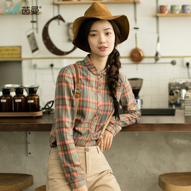 Image 4 - INMAN Women's Autumn Florals Plaid all match long sleeves Shirt Tops-in Blouses & Shirts from Women's Clothing