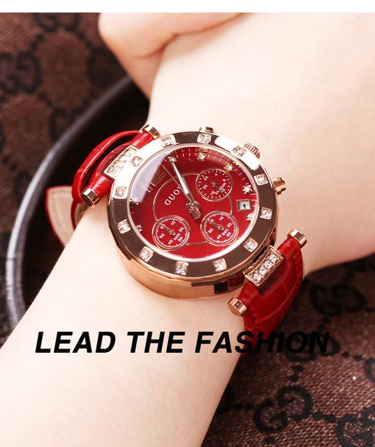 Fashion GUOU Brand Female Genuine Leather Clocks Top Quaity Woman Waterproof Luxury Student Damen Dress Watches With Calendar