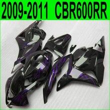 АБС-пластик обтекателя комплект для Honda CBR 600RR литьем под давлением 09 10 11 12 фиолетовый огонь черный обтекатели CBR600RR 2009-2012 37NJ