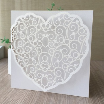 35pcs/lot Beautiful White Heart Pearl Paper Invitation Card For Wedding Engagement Mother day Brithday Party Graduation