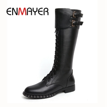 ENMAYER Women winter boots botas mujer women zipper round toe cross-tied knee high Size 34-39 ZYL1068