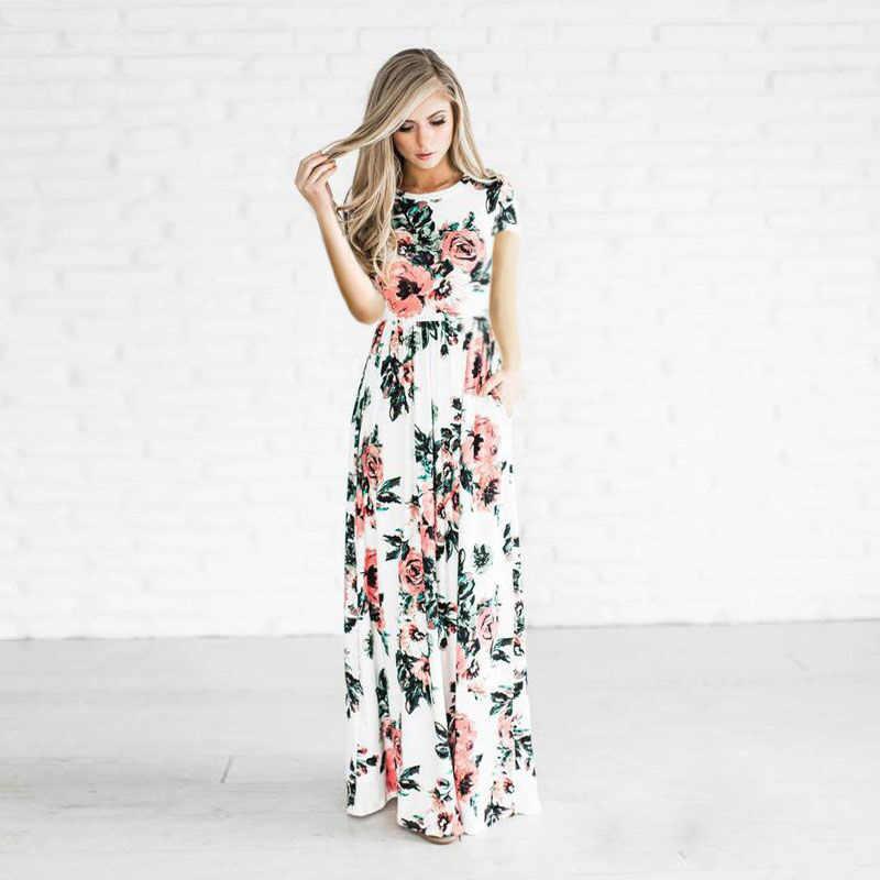 a2ade7e2c10 AVODOVAMA M 2018 Летнее Длинное платье короткий рукав цветочный пляжное