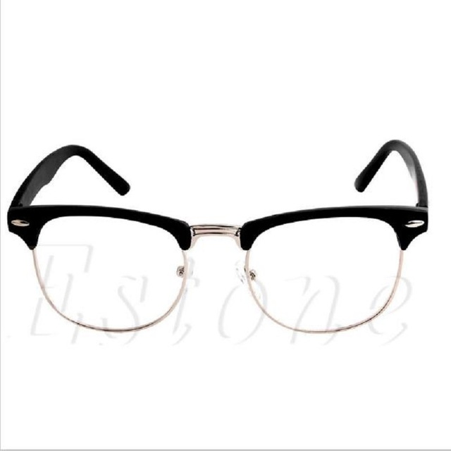 14c65b2867bb 1PC Fashion Metal Half Frame Glasses Frame Retro Woman Men Reading Glass UV  Protection Clear Lens Computer Drop ship #