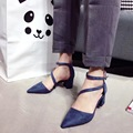 2017 New Black Pink Blue Microfiber Low Heel Pumps 6cm Ankle Strap Shoes Woman High Heel Open Shank Pointed Toe