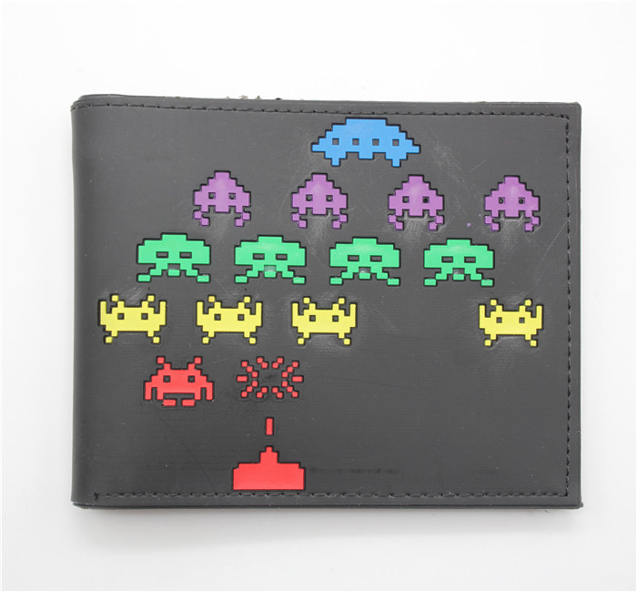 Game beware the invasion cartoon purse men women student leather wallet Threefold erect wallet Vertical Purses with metal chain