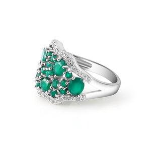 Image 3 - GEMS bale 14.31Ct doğal yeşil akik Vintage takı setleri saf 925 ayar gümüş taş küpe yüzük seti kadınlar için güzel
