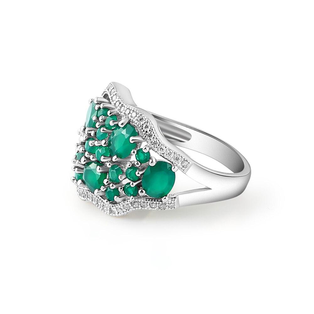 GEM'S balet 14.31Ct naturalny zielony agat biżuteria w stylu Vintage zestawy czysta 925 srebrne kolczyki z klejnotem pierścień zestaw dla kobiet w porządku w Zestawy biżuterii od Biżuteria i akcesoria na  Grupa 3