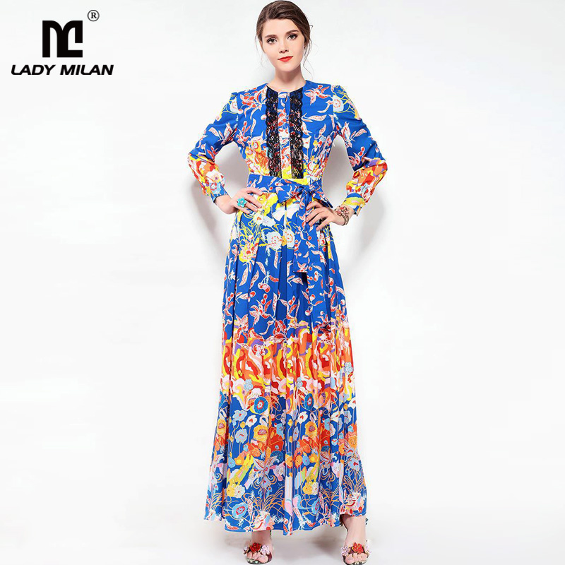 New Arrival 2018 Womens O Neck Long Sleeves Lace Patchwork Printed Pleated Elegant Designer Casual Maxi Dresses