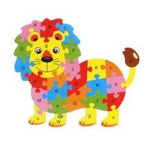 26pcs Cartoon Animal Wooden Puzzle Kids Early Educational Owl Elephant Lion Toys For Children Intelligence Jigsaw