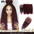 7А Бразильского Виргинские Волос Глубокая Волна Красного Человеческих Волос бургундия 99J Вьющиеся Волосы Ткет 3 Пучки Вьющиеся Волосы С закрытие