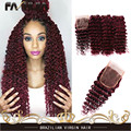 7A Brazilian Virgin Hair Deep Wave Red Human Hair Extensions Burgundy Curly Hair Weaves 99J 3 Bundles Curly Hair With Closure