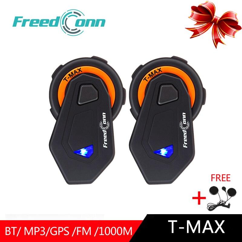 FreedConn 2 stücke T-Max Bluetooth Intercom Headset Motorrad Helm Kopfhörer 6 Fahrer Helm Intercomunicador Moto Sprechanlagen Hifi