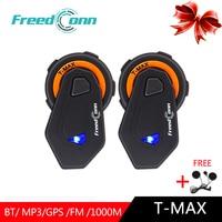 FreedConn 2pcs T Max Bluetooth Intercom Headset Motorcycle Helmet Earphone 6 Riders Helmet Intercomunicador Moto Intercoms Hifi