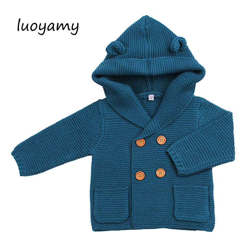 luoyamy Cartoon Winter Sweater For Baby Girls Cardigan With Ears Newborn Boys Knitted Jackets With Hood Autumn Children Coat newborn 2017 autumn and winter new girl cartoon plus cashmere cardigan women baby out jackets thick dress princess dress533