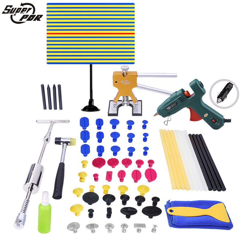 цены 72pcs PDR Tools Kit Yellow Reflector Board Dent Puller Glue Tabs Suction Cup For Dent Removal Dent Repair
