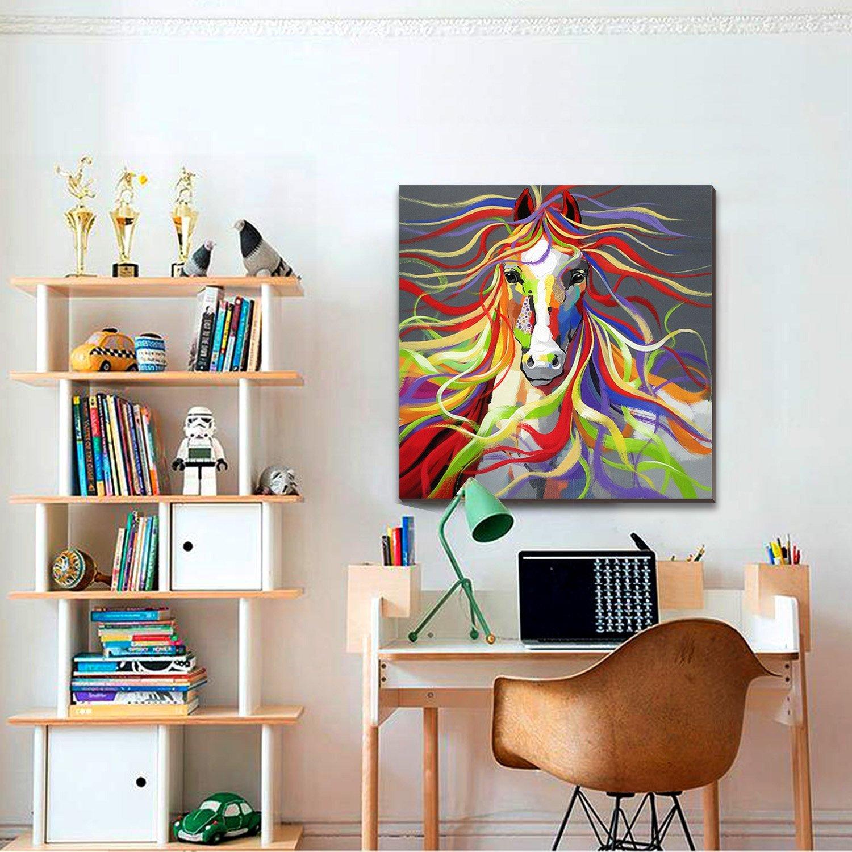 Pintura al óleo sobre lienzo caballo 30x30 pulgadas colorido animal ...