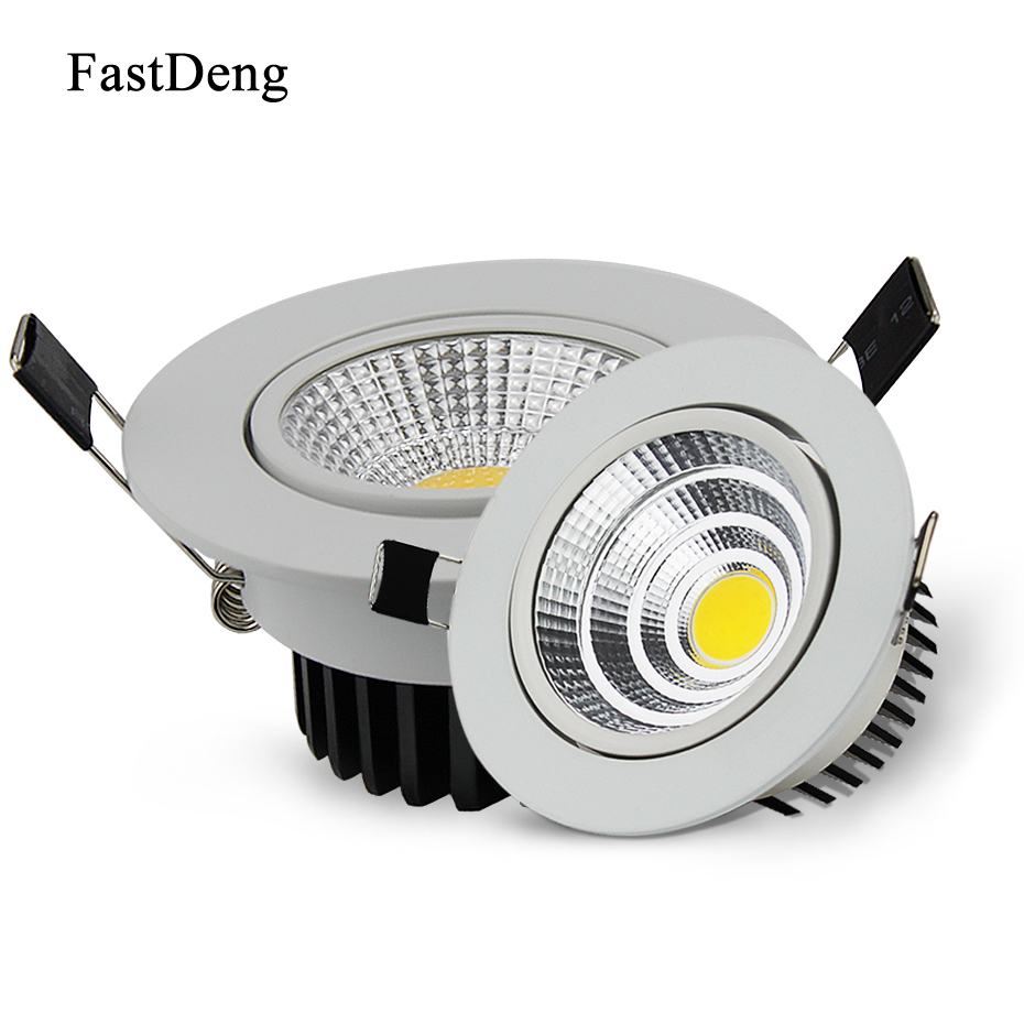 LED Downlight Dimmable 5W 10W 20W AC85-265V COB Downlights High Brightness LED Ceiling Recessed Down Light For Living Room 5w 10w rgb rgbw led ceiling panel light ac85 265v embedded recessed downlight bulb changable with 24 key remote control