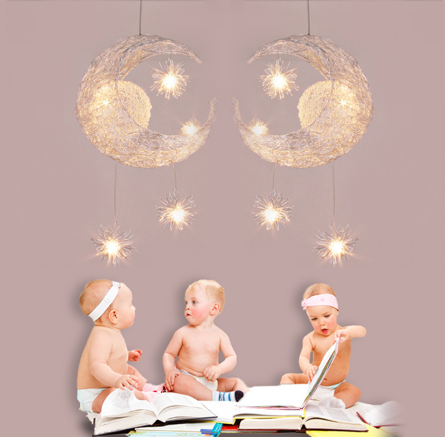 Linkax Modern Personalized Moon Star Chandelier Children Bedroom Lustres hanging ceiling lamp home decorative Fixture Lighting