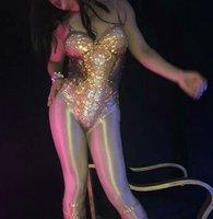 Весь средства ухода за кожей блестящие комбинезон со стразами певица танцовщица Сексуальная выступление костюм комбинезон Ночной клуб гос