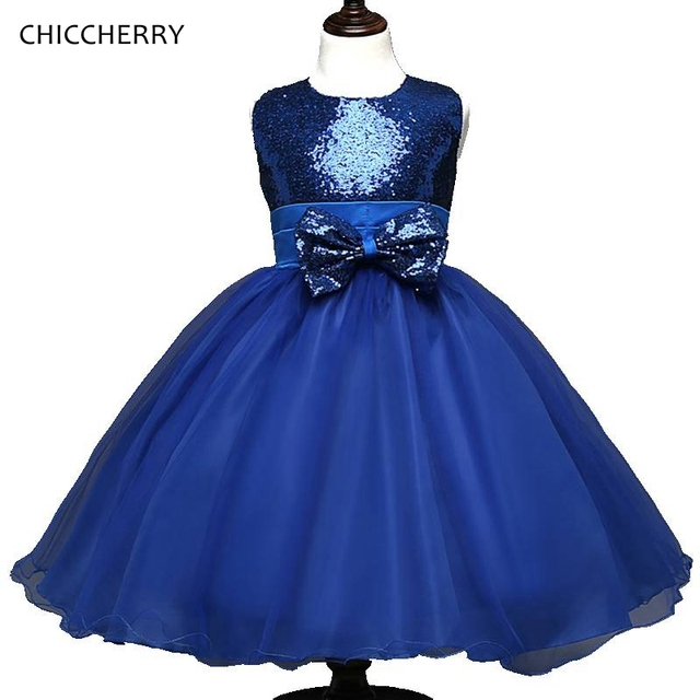 Beautiful Sequins Blue Sleeveless Kids Dresses For Girls Party ...