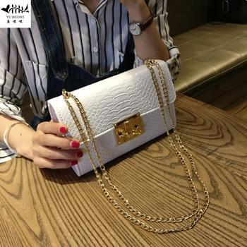 High Quality Women Messenger Crossbody Bag Alligator Crocodile Chain Handbags Purse Leather Lady Fashion Vintage Shoulder Bags