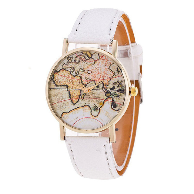 New Women Luxury Leather World Map Neutral Watches man Watch Cheap