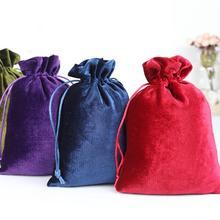 10 unids/lote 10*15, 12*14, 13*20, 25*30 cm bolsitas de terciopelo con cordón de seda suave rojo/morado/verde/azul bolsas de regalo de boda Candy Bag