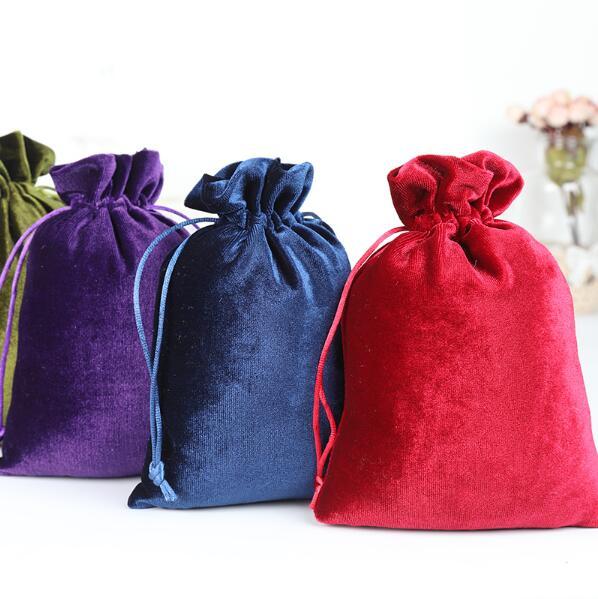 10pcs/lot 10*15, 12*14, 13*20, 25*30 Cm Red/Purple/Green/Blue Soft Silk Velvet Drawstring Pouches Wedding Gift Bags Candy Bag