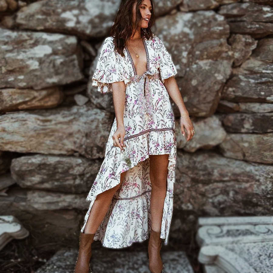 TEELYNN sexy deep v-neck boho dress strawberry cream floral print summer Dresses irregular dress Gypsy women dresses Vestidos