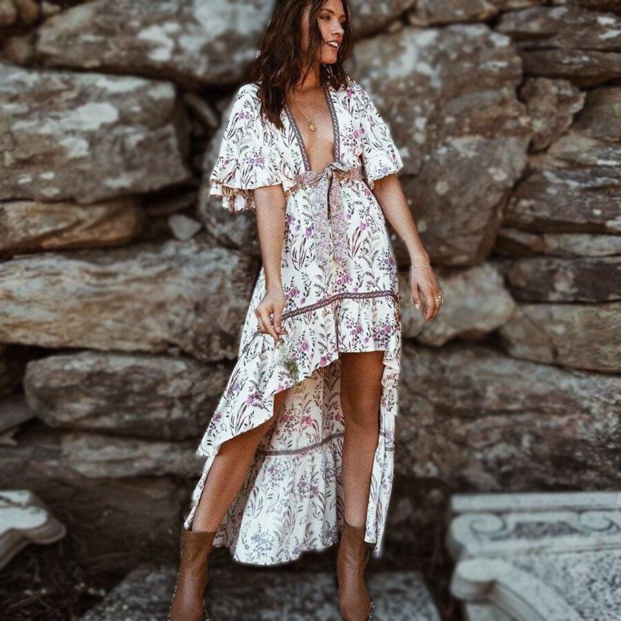TEELYNN sexy profundo decote em v vestido boho morango creme floral imprimir Vestidos de verão irregular vestido Gypsy mulheres vestidos Vestidos